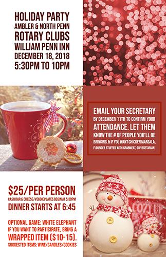 Club Meeting: Holiday Dinner (5:30 PM) @ William Penn Inn   Ambler   Pennsylvania   United States
